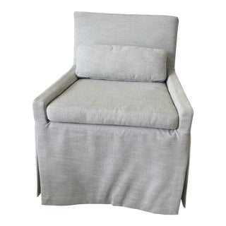 Modern Restoration Hardware Low Belgian Slipcovered Arm Chair For Sale