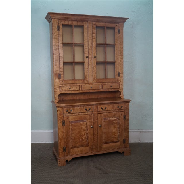 Custom Crafted Tiger Maple Dutch Cupboard - Image 2 of 10