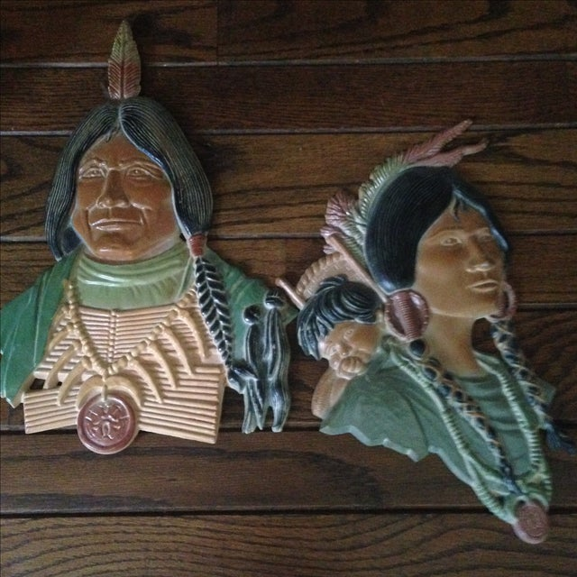 Vintage Metal Native American Wall Plaques - Pair - Image 11 of 11