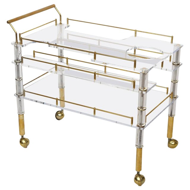 Lucite and Brass Bar Cart on Casters in the Style of Hollis Jones For Sale