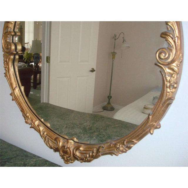 French Style Gold Gilt Wood Hand Painted Wall Mirror For Sale - Image 4 of 10