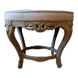 Carved & Upholstered Striped Stool For Sale