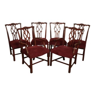 Kindel Chippendale Style Set 6 Mahogany Dining Chairs For Sale