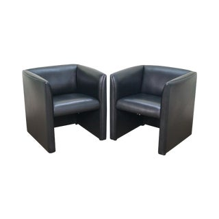 Metropolitan Mid Century Modern Style Black Leather Club Chairs - a Pair For Sale