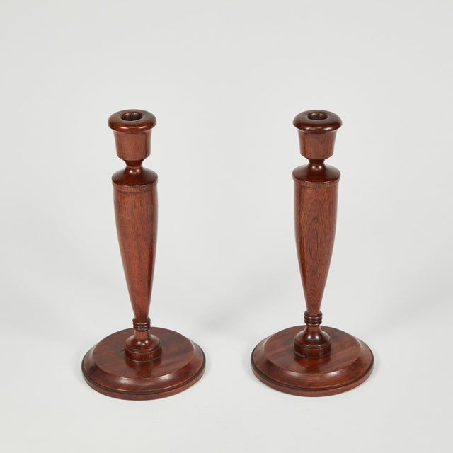 Traditional Pair of Turned Candlesticks in Mahogany For Sale - Image 3 of 5