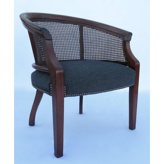 Vintage C.1968 Mahogany Barrel Back & Caned Arm Chairs With Brass Nail Heads - a Pair For Sale - Image 4 of 13