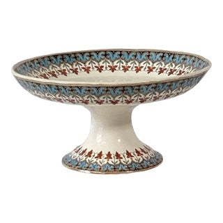 Early 20th Century Hand Painted Ceramic Footed Bowl For Sale