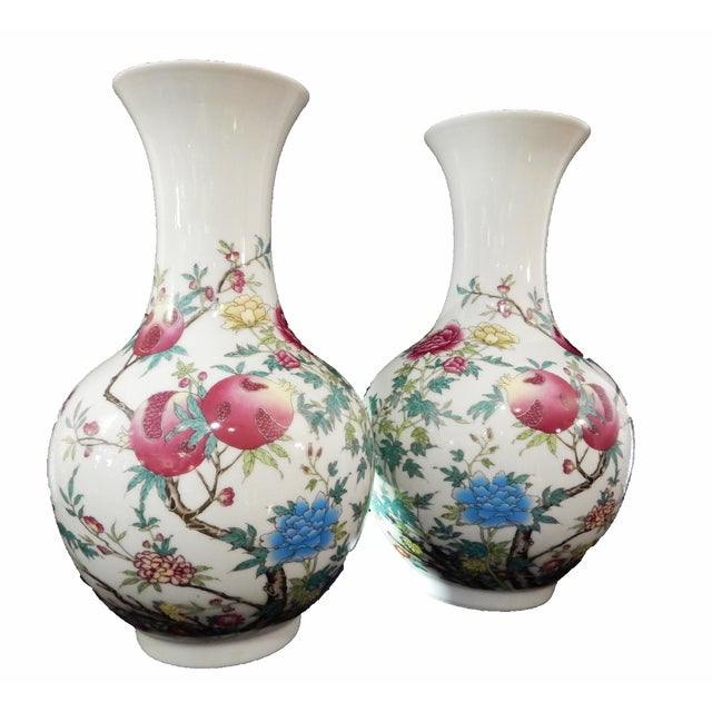 Famille Rose Pomegranate Vases A Pair Chairish