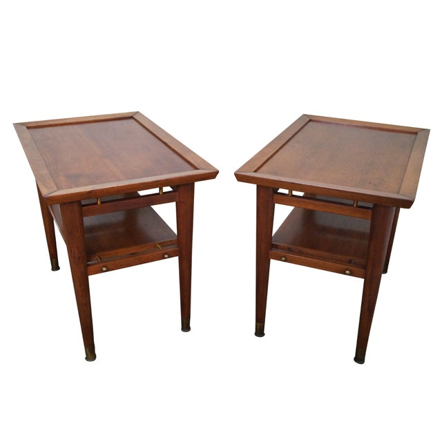 Mid-Century Walnut Side Tables - A Pair - Image 1 of 9