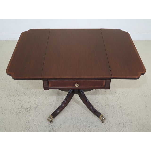 1990s Federal Drop Leaf Mahogany Duncan Phyfe Large 1 Drawer Occasional Table For Sale - Image 9 of 12