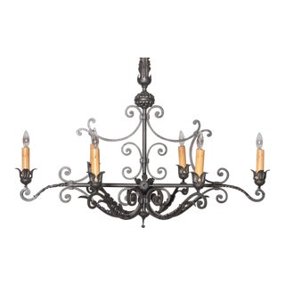 Long Mid-20th Century French 6-Light Iron Chandelier For Sale