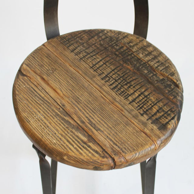 Industrial Reclaimed Wood and Iron Bar Stool For Sale - Image 3 of 3