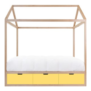 Nico & Yeye Domo Zen Full Canopy Bed Made of Solid Maple Yellow Drawers For Sale
