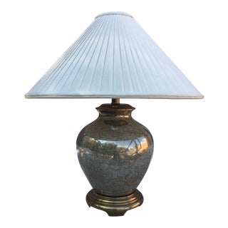 Frederick Cooper Chinoiserie Porcelain and Brass Ginger Jar Lamp and Shade For Sale