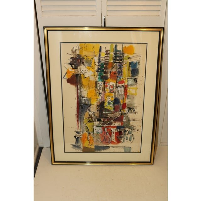 Paint Vintage 1955 Charles LeClair Abstract Framed Watercolor Painting For Sale - Image 7 of 8