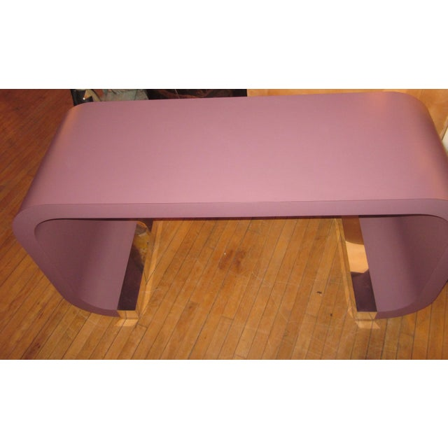 1990s Vintage Postmodern Lavender Mauve Pink-Purple Waterfall Console Table For Sale - Image 5 of 11