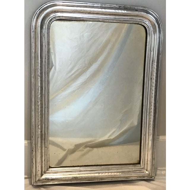 Mid 19th Century Antique Silver Giltwood Louis Philippe French Mirror For Sale - Image 5 of 5