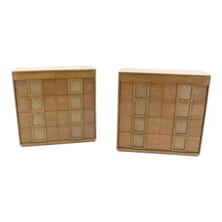 Vintage Mid Century Cerused High Chests of Drawers- a Pair For Sale