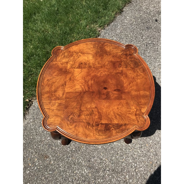 Queen Anne Traditional Queen Anne Walnut Side Table by Hekman For Sale - Image 3 of 6