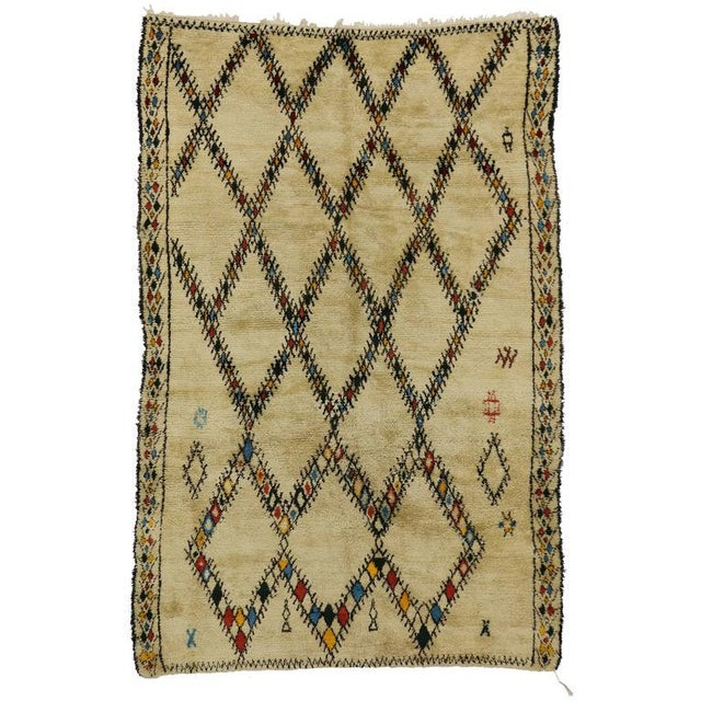 Black Mid-Century Modern Vintage Beni Ourain Moroccan Rug with Tribal Style For Sale - Image 8 of 8