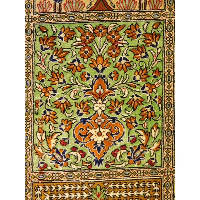 """Hand Knotted Pure Silk Persian Qom Rug - 4'10"""" x 4'10"""" - Image 4 of 9"""
