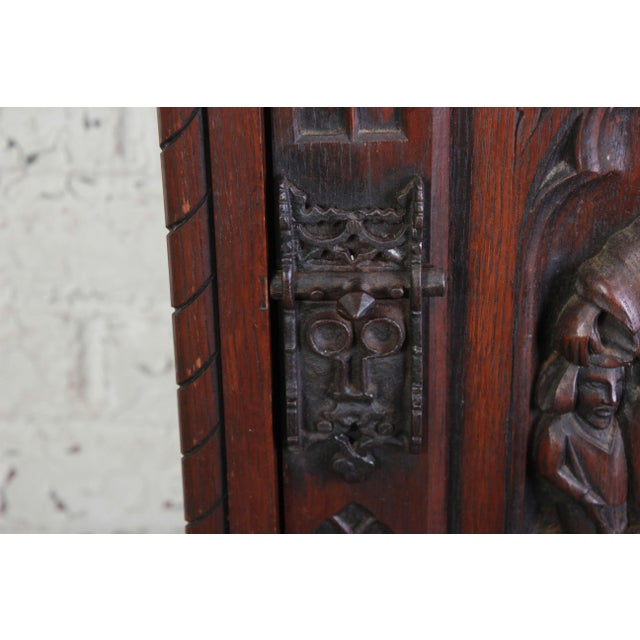 19th Century Belgian Dark Walnut Gothic Bar Cabinet For Sale In South Bend - Image 6 of 10