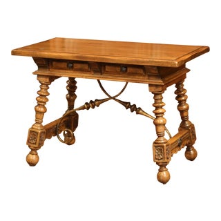 Early 20th Century Spanish Carved Walnut Writing Table With Iron Stretcher For Sale