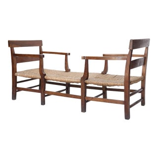 French Antique Rush Seat Bench or Day Bed For Sale