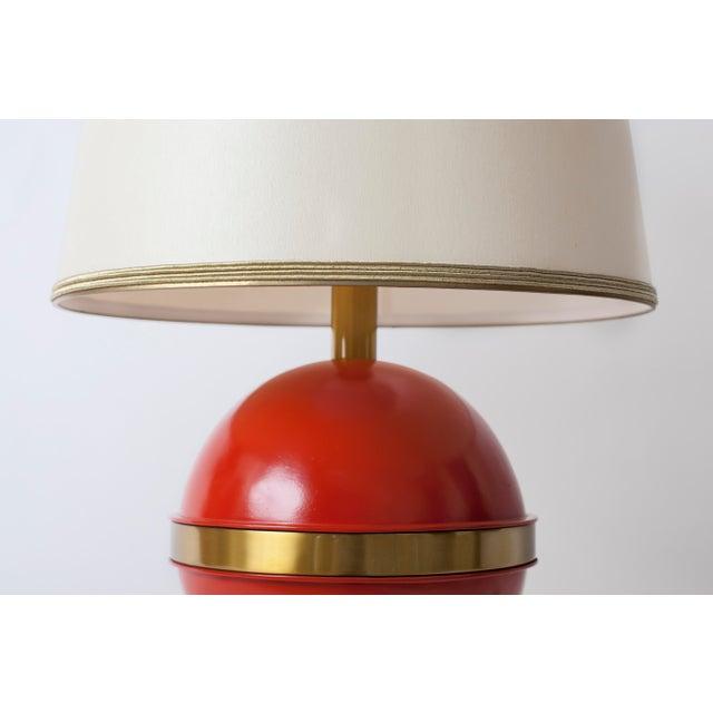 1970s Vintage Mid-Century Orange Globe Table Lamp - Image 4 of 5