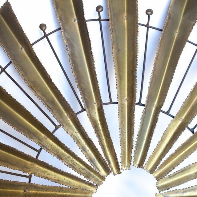 Mid-Century Modern Vintage Brutalist Brass Sunburst For Sale - Image 3 of 4