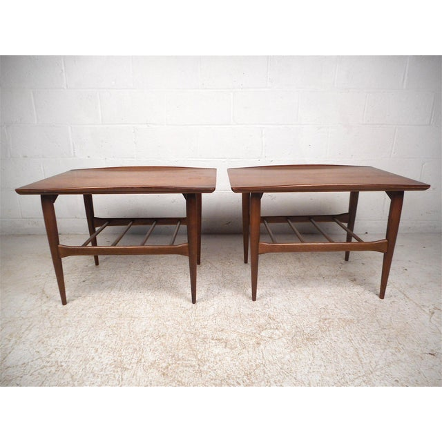 Bassett Furniture Surfboard Side Tables by Bassett Furniture Co., a Pair For Sale - Image 4 of 13