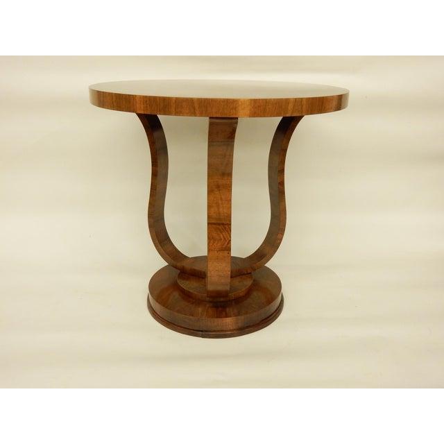 Walnut Elegant Tulip Shaped Art Deco Walnut Table For Sale - Image 7 of 7