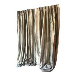 Striped Aqua Green/Cream Silk Drapes - a Pair For Sale