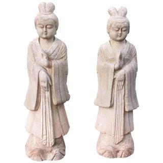 Antique Quanyin Limestone Statues - A Pair For Sale