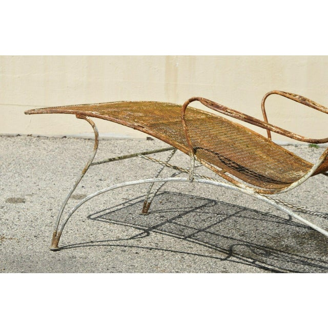 Metal Mid Century Modern Russell Woodard Wrought Iron Patio Chairs- A Pair For Sale - Image 7 of 13