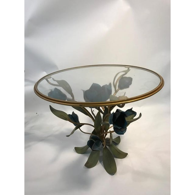 Italian BEAUTIFUL PAIR OF MIXED- METAL SIDE OR ACCENT TABLES WITH FLOWER AND LEAF DESIGN For Sale - Image 3 of 8