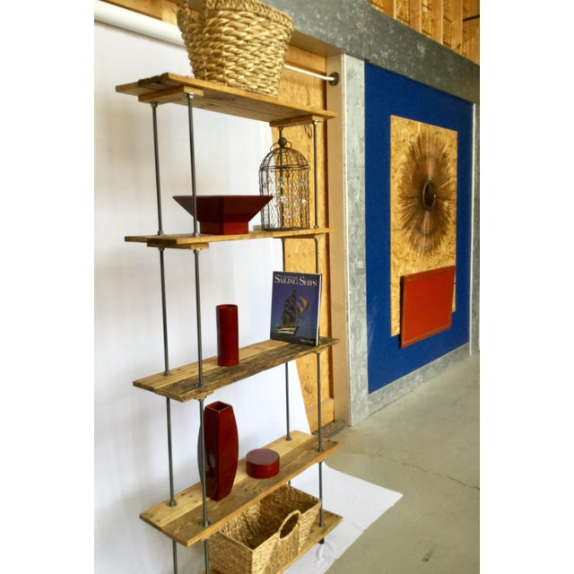 Industrial Tall Recycled Wood and Metal Rod Adjustable Bookcase Shelf For Sale - Image 10 of 12