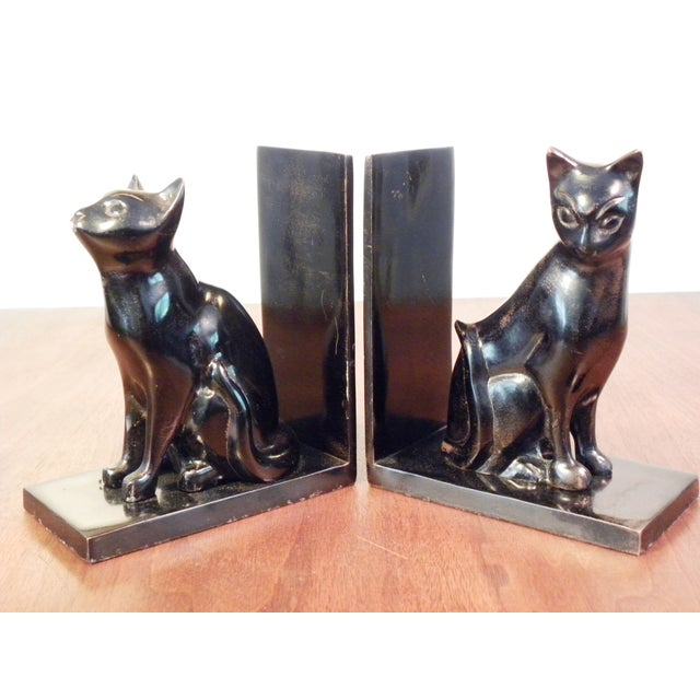 Vintage Mid Century Black Cat Bookends - Pair - Image 7 of 7