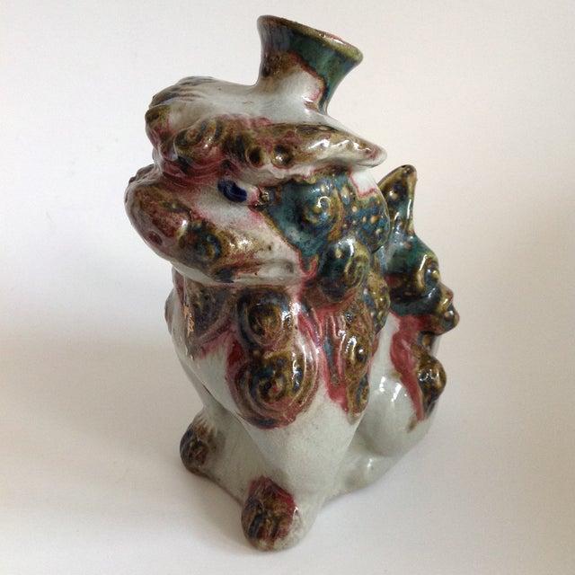 Vintage Pottery Foo Dog Lion Decanter Vase - Image 7 of 8