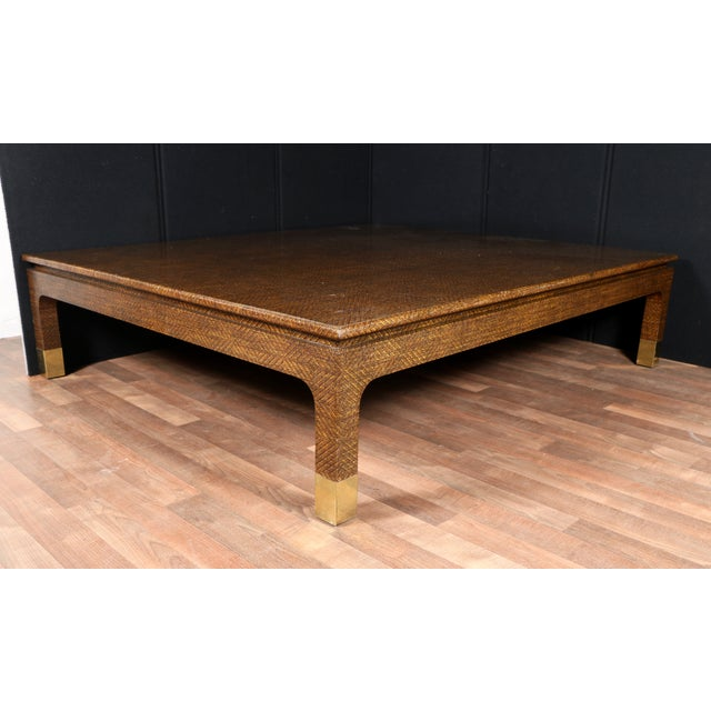 Raffia Covered Coffee Table by Harrison Van Horn For Sale In Los Angeles - Image 6 of 11