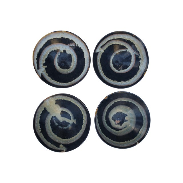 Blue & White Hand-Thrown Artisan Bowls - Set of 4 For Sale
