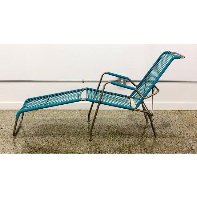 1960s Patio Furniture by Surf Line, 2 Lounge Chairs, 1 Chaise in Stainless and Aqua For Sale - Image 5 of 13