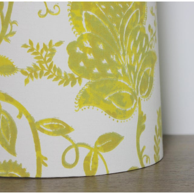 Custom Yellow Floral Drum Lamp Shade For Sale - Image 4 of 5