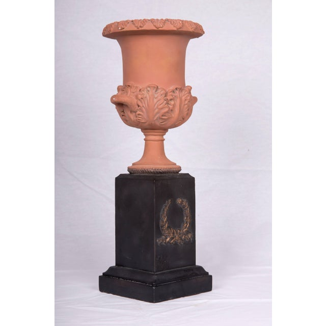 Late 20th Century Neoclassical Terracotta Urns on Decorated Plinths - a Pair For Sale - Image 5 of 5