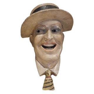 Early 20th Century Antique Maurice Chevalier Plaster Head Sculpture For Sale