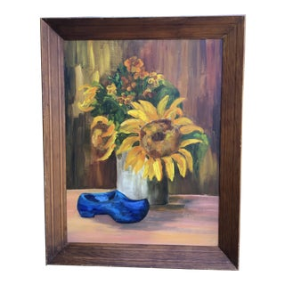 1976 Vintage Margaret Yatzick Sunflowers in White Base With Blue Shoe Painting For Sale