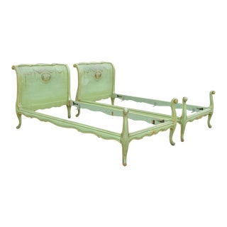 Antique French Louis XV Green Distress Painted European Twin Bed Frames - a Pair For Sale