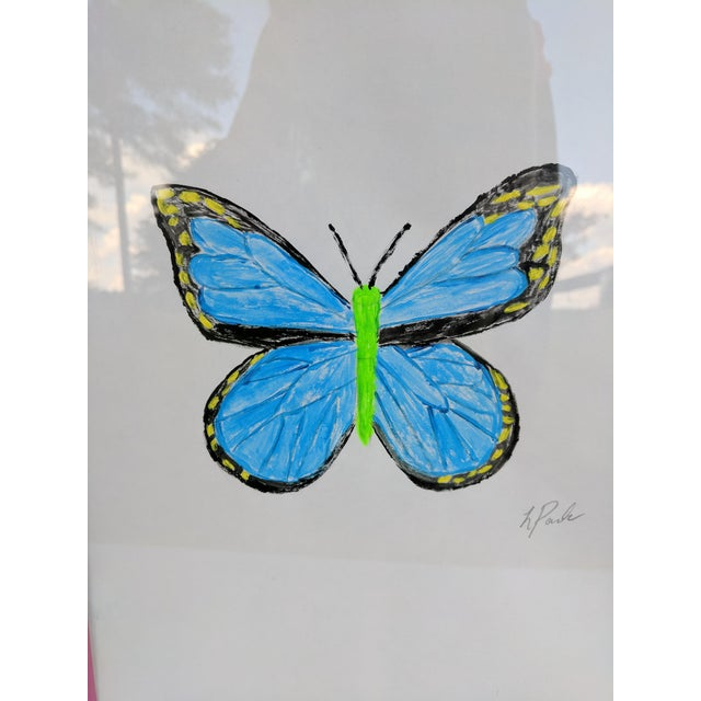 Original Acrylic Butterfly Painting Signed and Framed For Sale - Image 9 of 13
