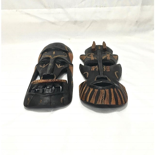 Primitive Kenyan Tribal Wall Masks, a Pair For Sale - Image 3 of 8