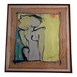 Large Ink on Silk Framed Abstract Figurative Painting by Mary Kuder For Sale